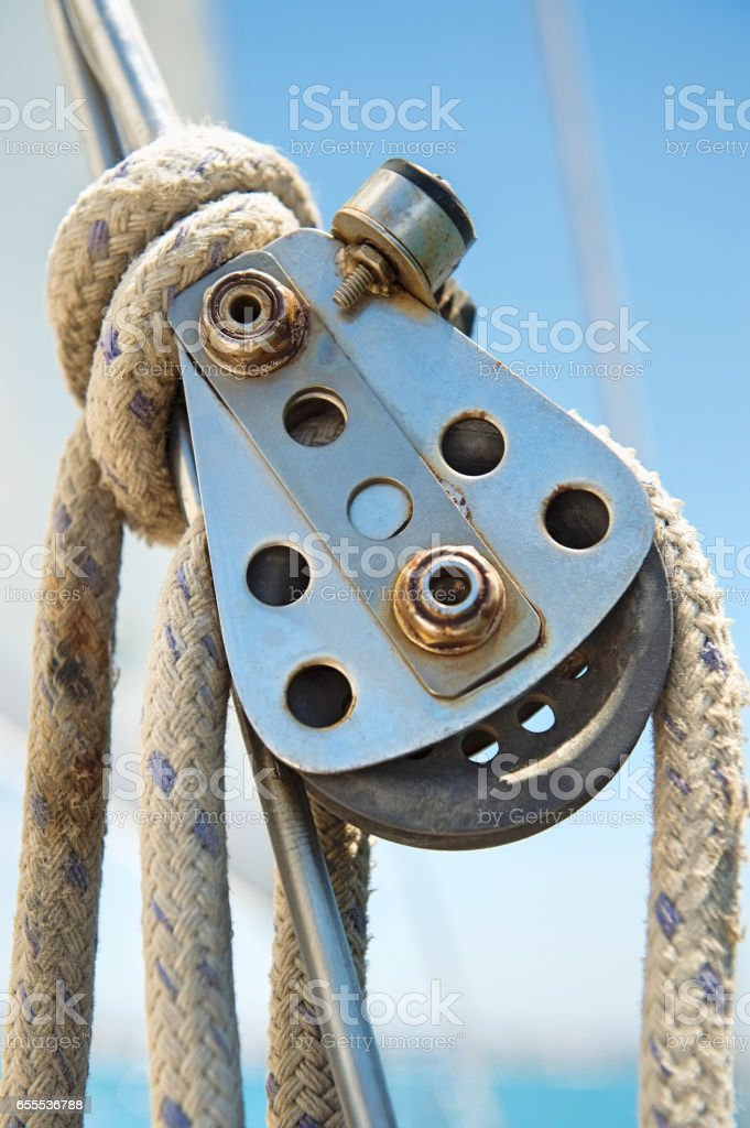 Close-up of boat's block and tackle stock photo