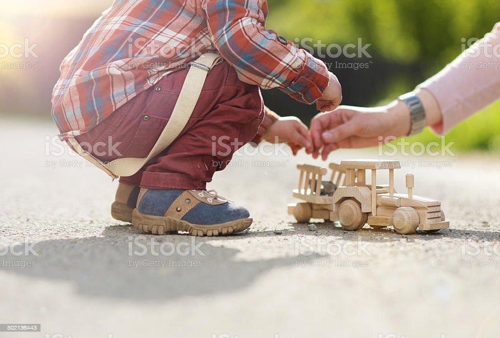 Closeup of boy playing stock photo