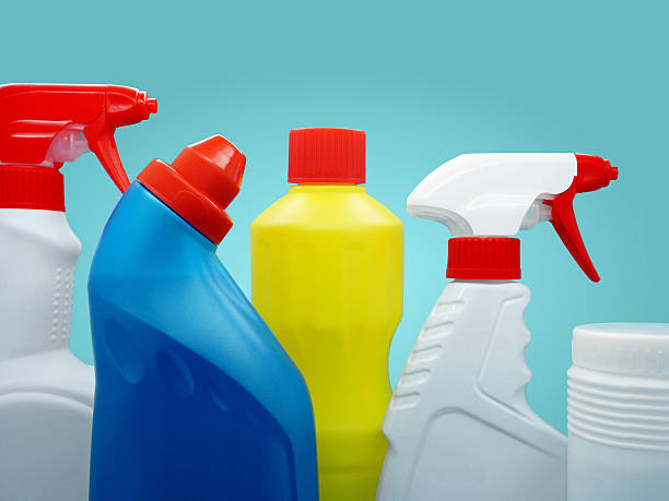 closeup of brand-stripped cleaning products - bleach stock pictures, royalty-free photos & images