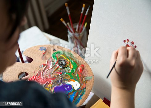 istock Closeup of brash and palette 1137559332
