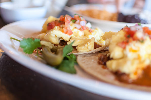 Close-up of breakfast tacos on a plate stock photo