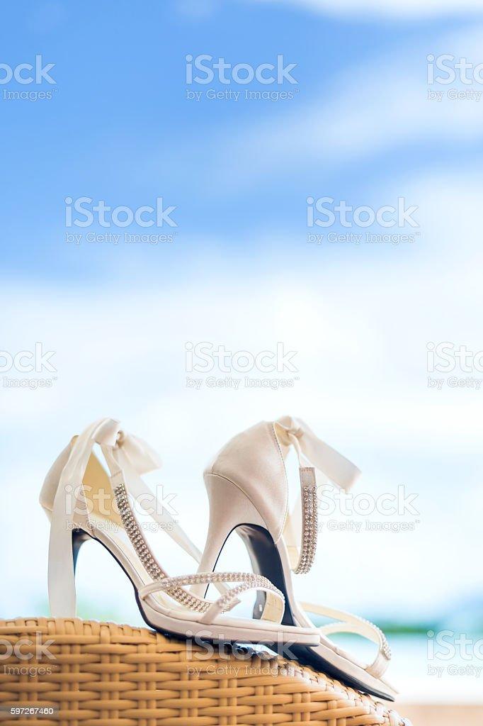 Close-up of bridal shoes Lizenzfreies stock-foto