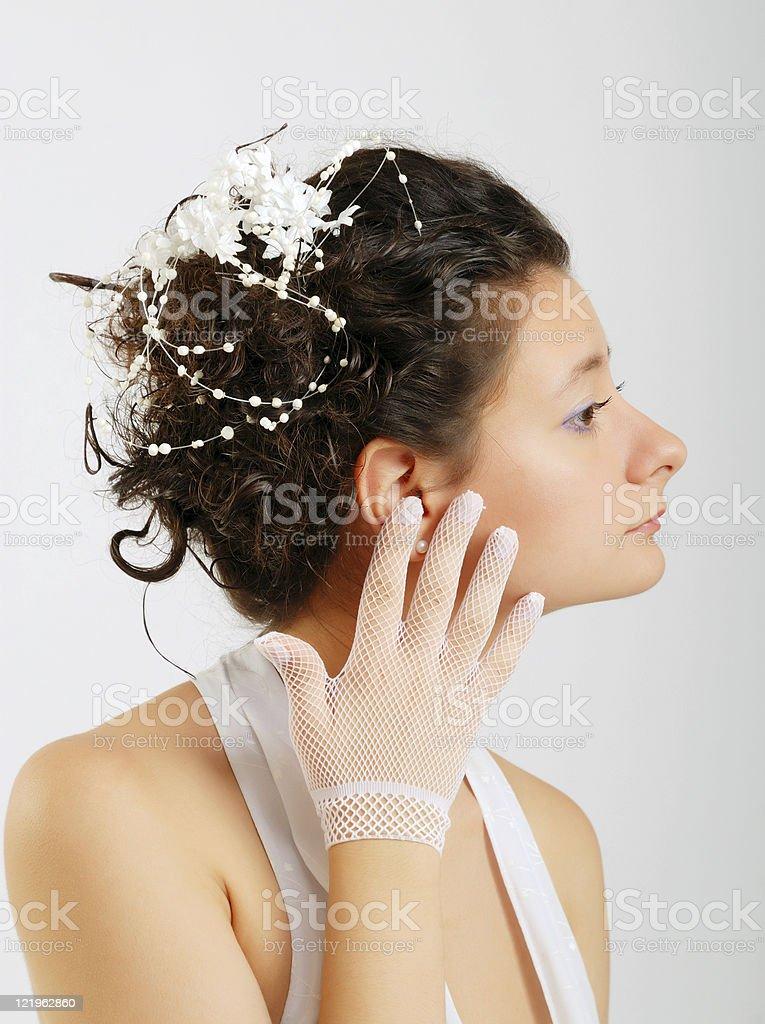 Close-up of bride preening stock photo