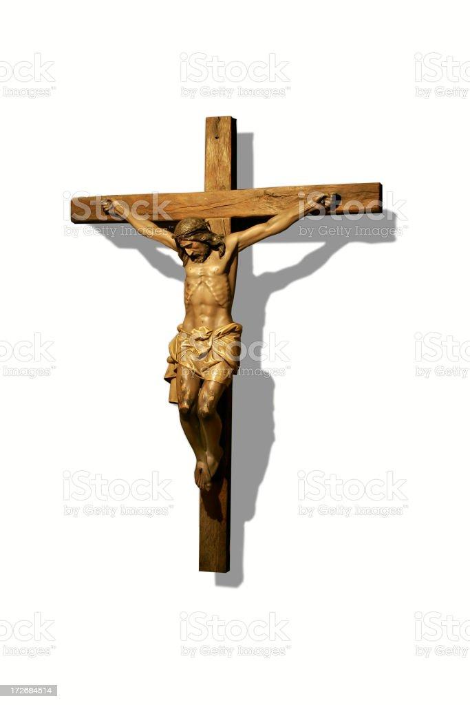 Close-up of bronze crucifix statue stock photo