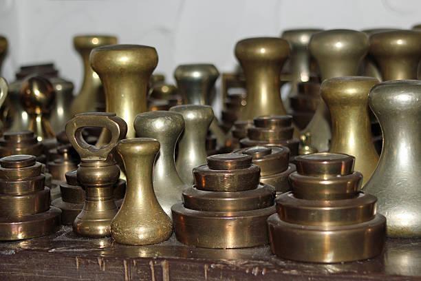 Nahaufnahme der bronze-Hanteln – Foto