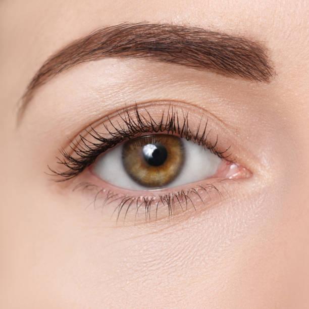 primer plano del ojo marrón - foto de stock