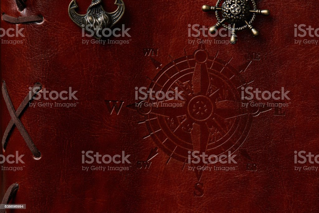 Closeup of brown leather book cover stock photo