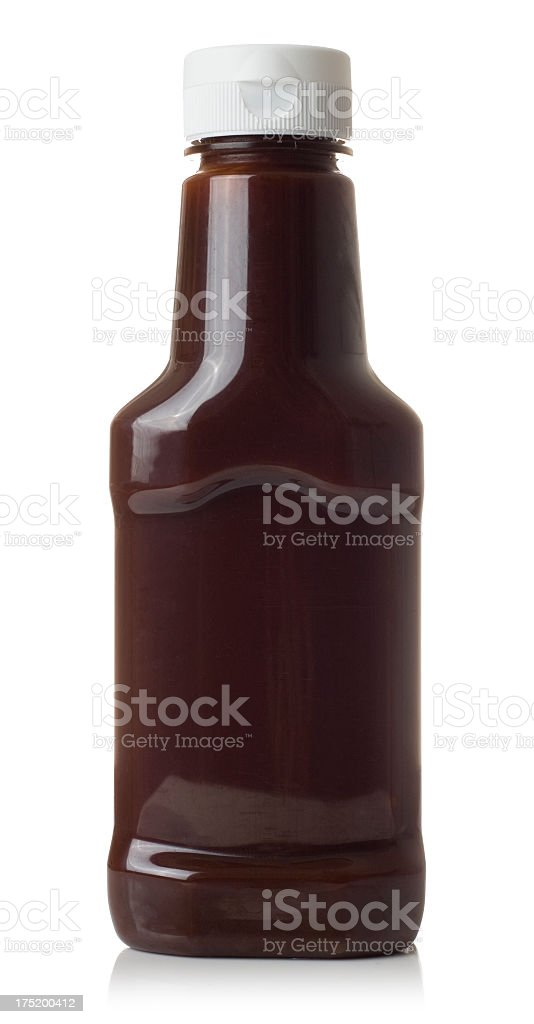 Close-up of brown sauce isolated on white stock photo