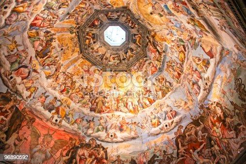 Painting inside Brunelleschi cupola, Florence duomo, Tuscany.