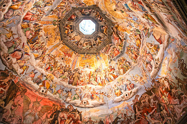 close-up of brunelleschi's dome in the florence cathedral - renaissance stock pictures, royalty-free photos & images