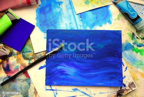 544318804 istock photo Closeup of brush and art painting 513675558
