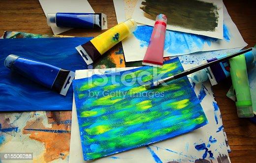 544318804 istock photo Closeup of brush and art painting 615506288