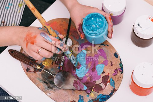 937983086 istock photo Closeup of brush and color palette 1147974107