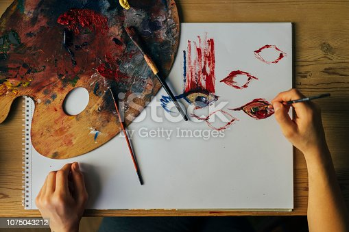 937983086 istock photo Closeup of brush and palette 1075043212