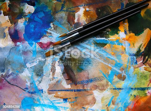 istock Closeup of brush and palette 504854256