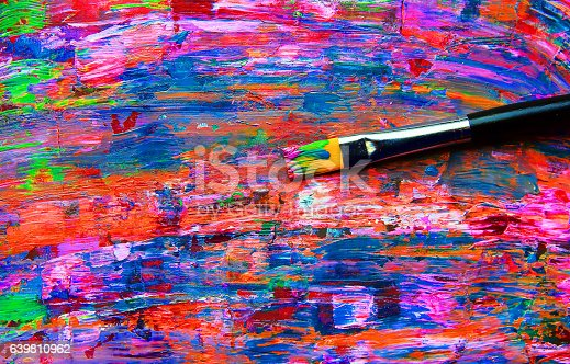 istock Closeup of brush and palette. 639810962