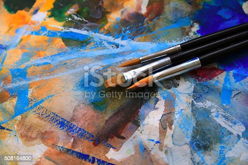 istock Closeup of brushes and palette 508164800