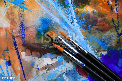 544318804 istock photo Closeup of brushes and palette. 544318804
