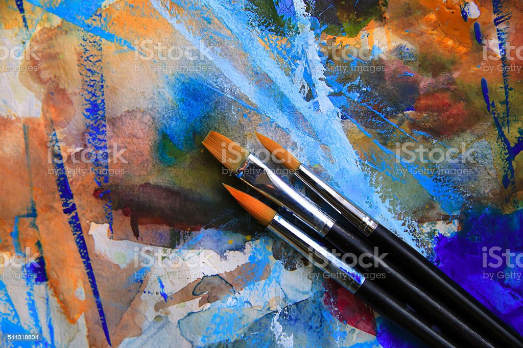 Closeup of brushes and palette. stock photo