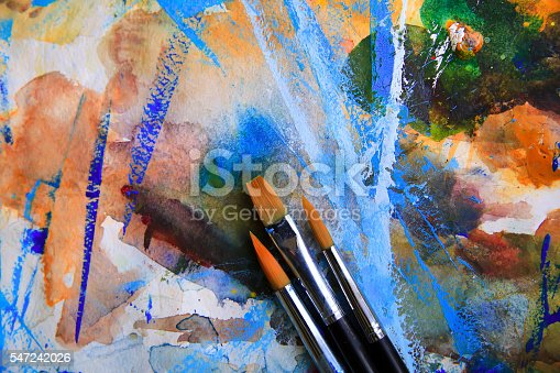 istock Closeup of brushes and palette. 547242026