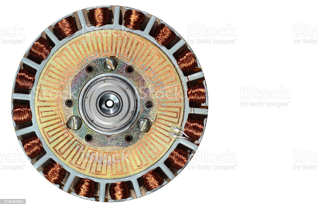 closeup of brushless dc motor with removed upper cover stock photo