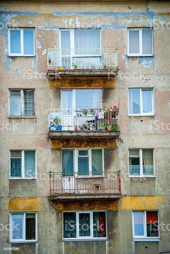 Close-up of building exterior in Liepaja stock photo