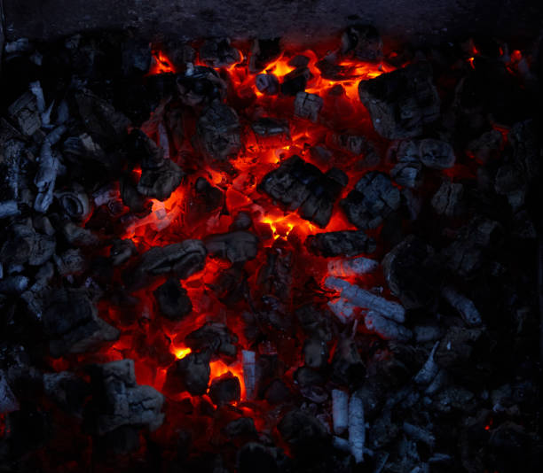 Close-up of burning embers of the campfire stock photo