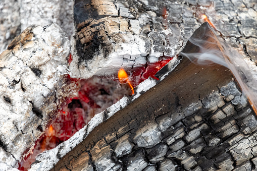 Closeup of burning wood in details