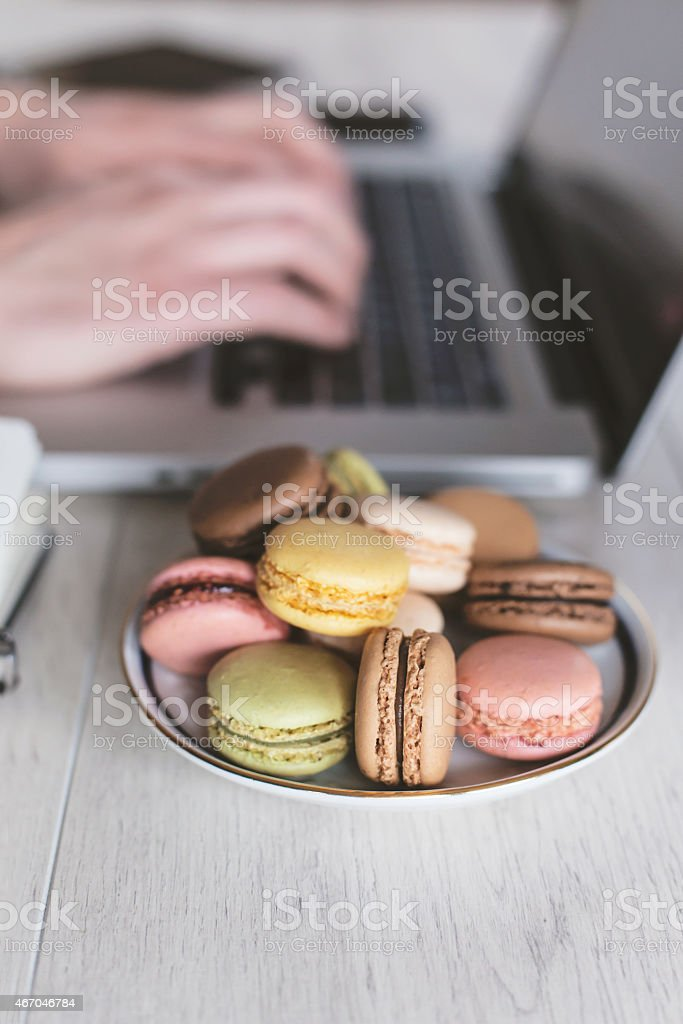 Closeup of business man typing on laptop computer stock photo