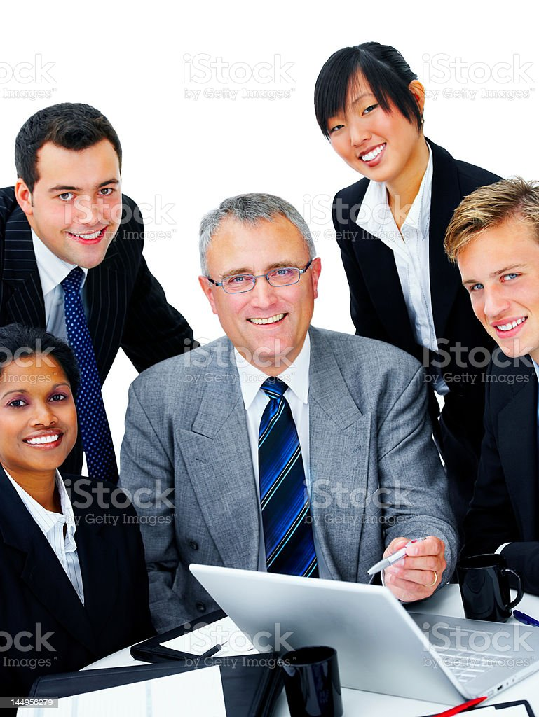 Close-up of business people discussing in a meeting royalty-free stock photo