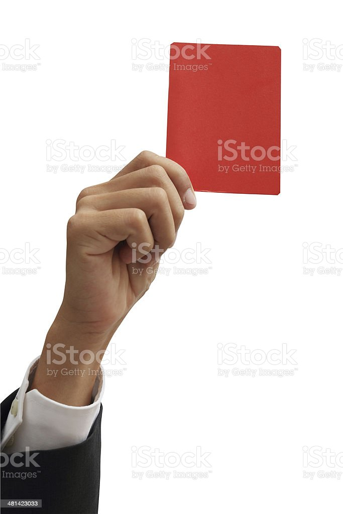 Closeup of  businessman hand holding red card isolate on white stock photo
