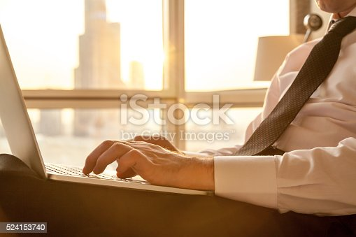 istock Close-up of businessman hands working on laptop 524153740