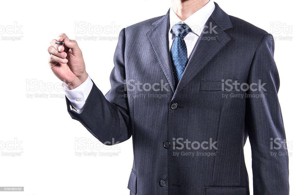 Close-up of Businessman Holding Pen stock photo