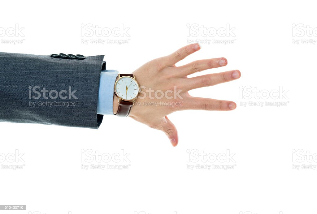 Close-up of businessman palm isolated on white background stock photo