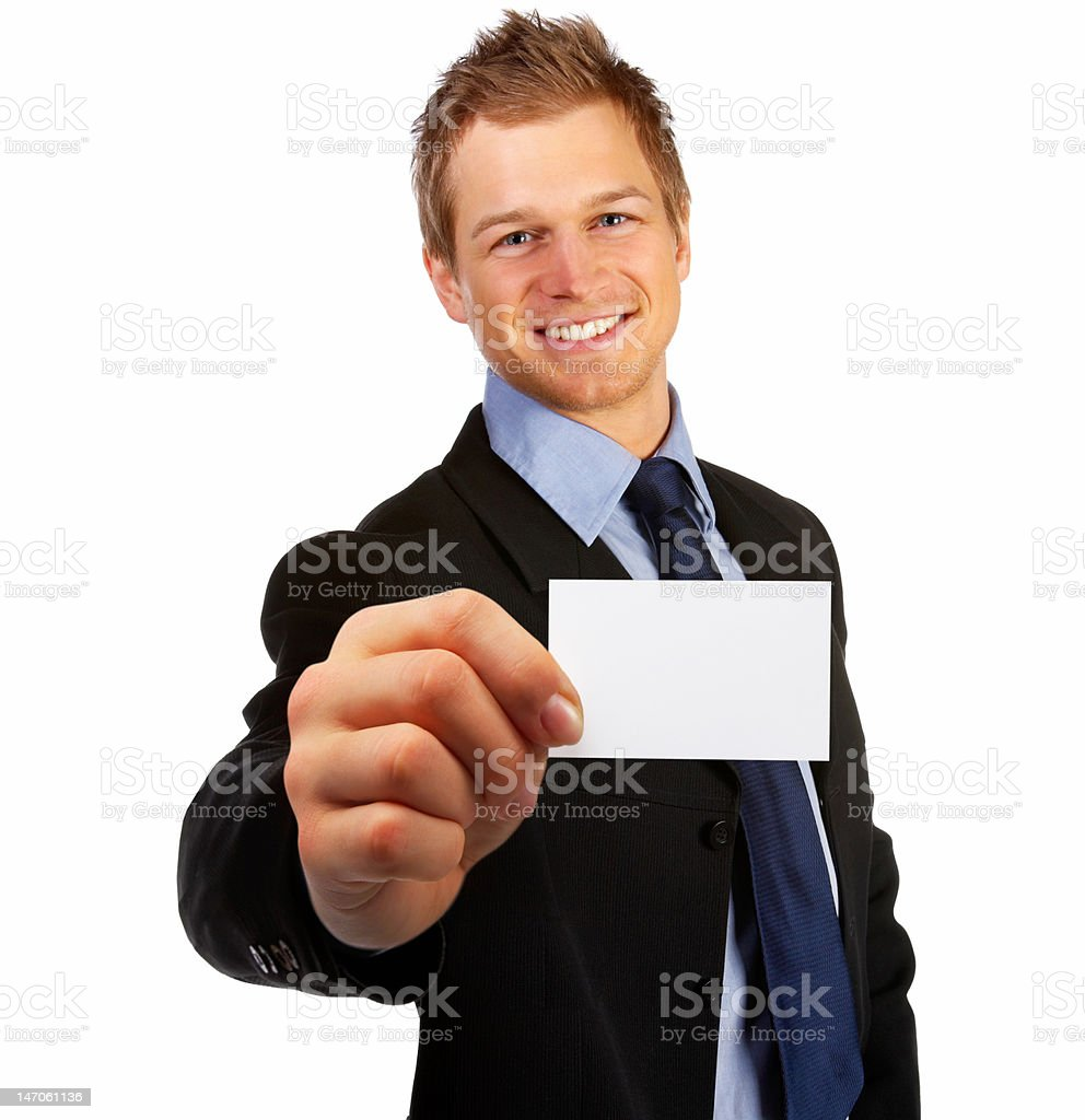 Close-up of businessman showing a business card royalty-free stock photo