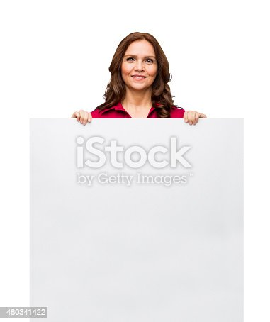 1132314350 istock photo Close-up of businesswoman showing placard 480341422