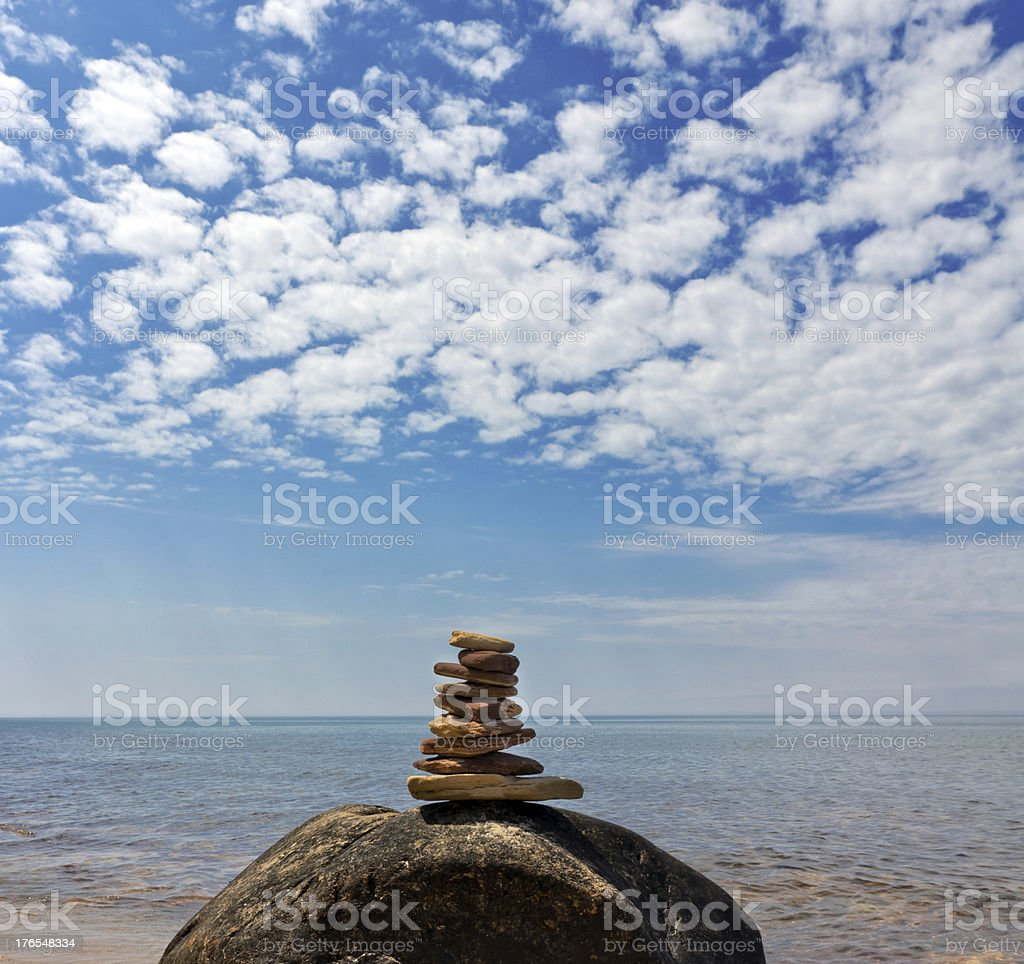 Closeup of Cairn Trail Marker on Lake Superior stock photo