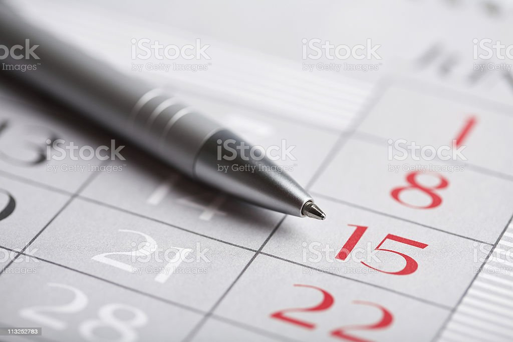close-up of calendar page royalty-free stock photo