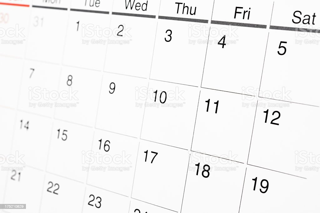 Close-up of Calendar with shallow depth of field royalty-free stock photo