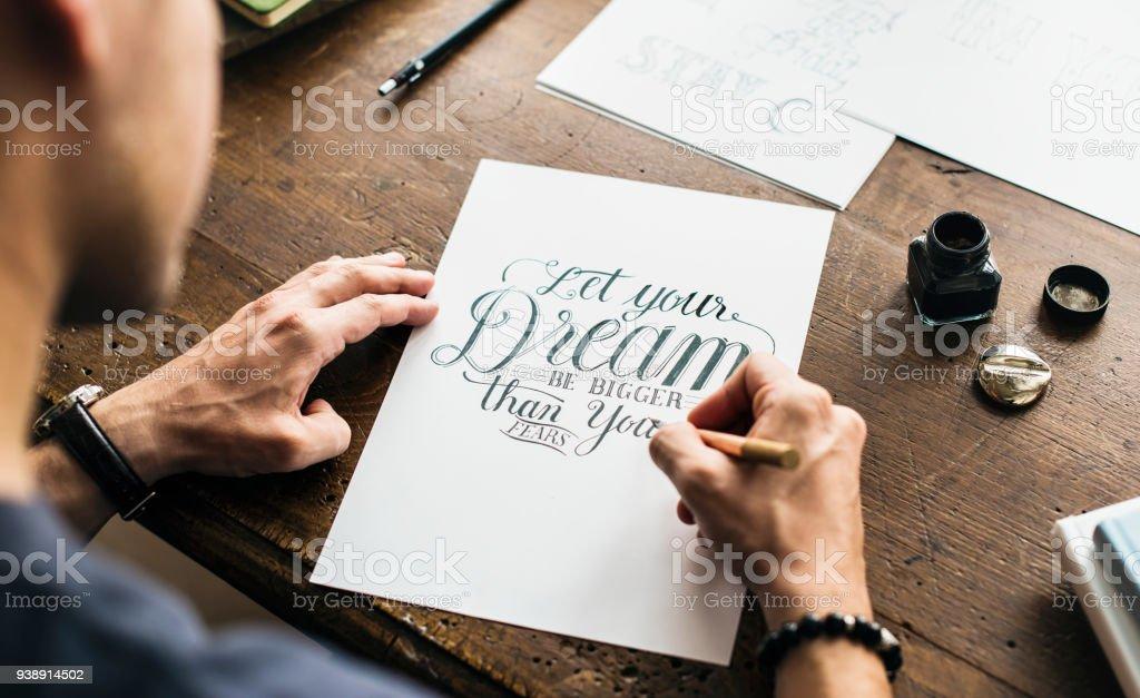 Closeup of calligraphic artwork stock photo