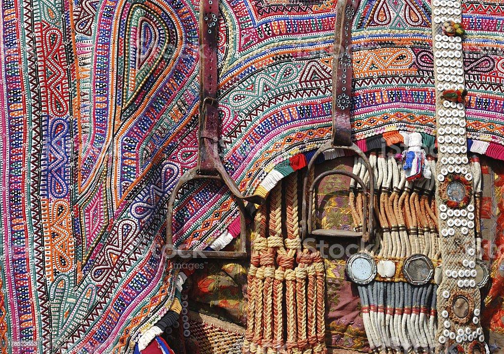 Closeup of camel decoration with stirrups,Rajasthan,India royalty-free stock photo