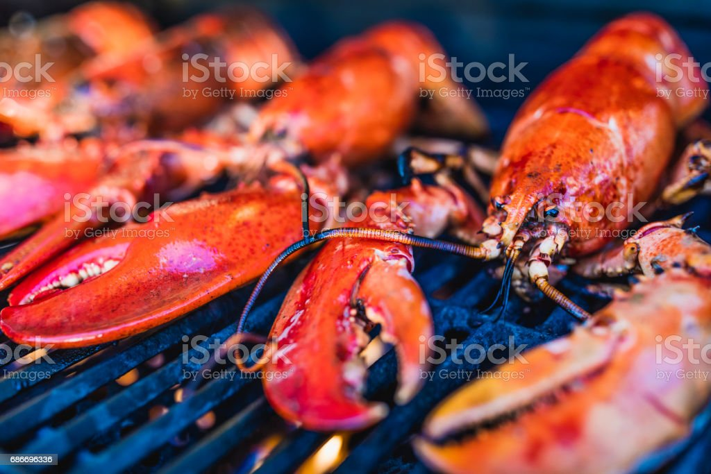 Close-up of Canadian lobsters grilling on the barbecue. stock photo