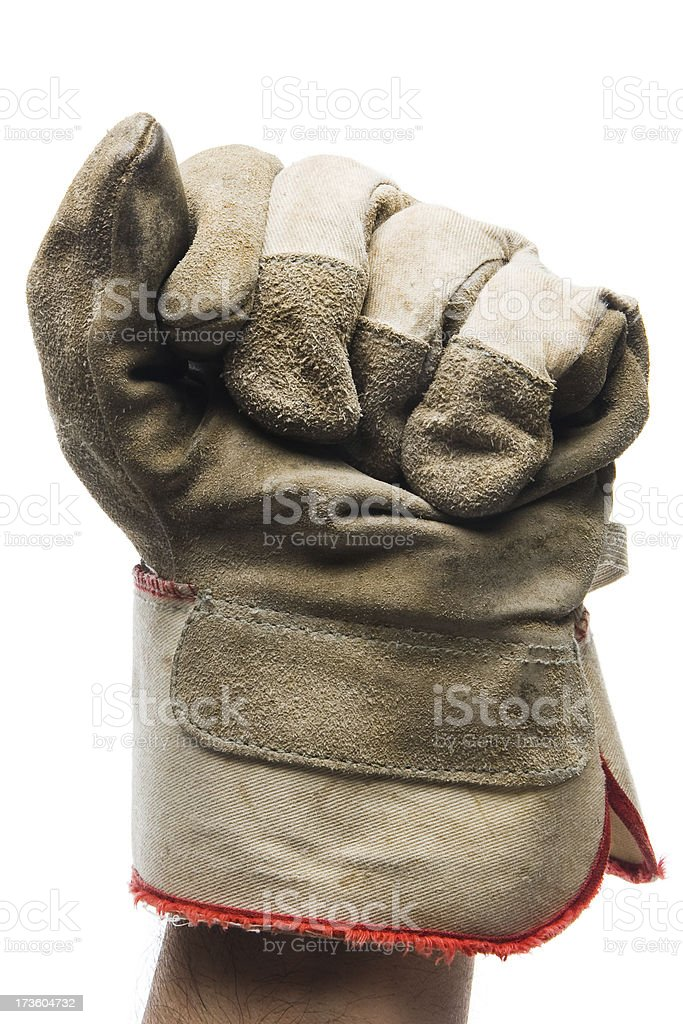 Close-up of canvas work glove on fist stock photo