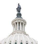Close-up of Capitol Building Dome with Statue of Freedom, Washington DC. The Dome is isolated on pure white background.