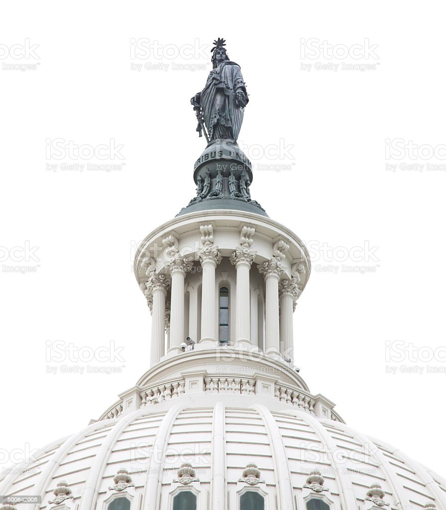 Close-up of Capitol Building Dome, isolated on white, Washington DC. stock photo