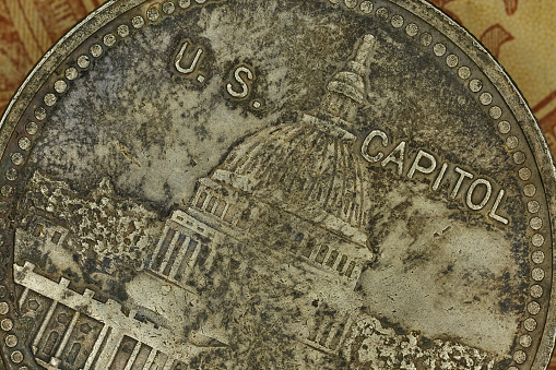 Close-up of Capitol on American silver old coin