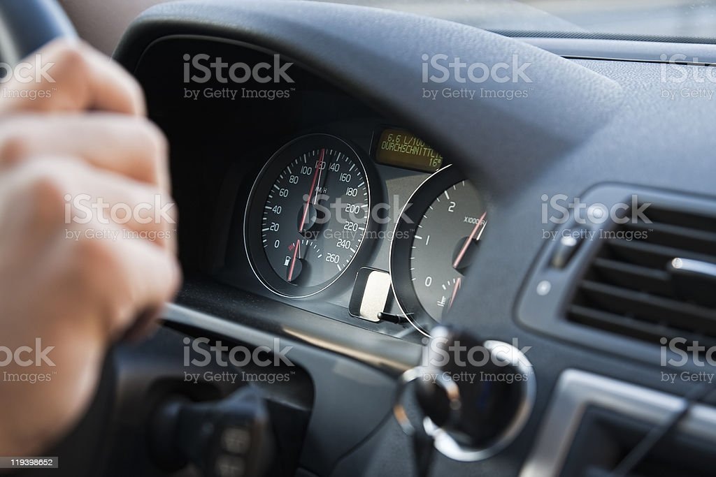 Close-up of car gauges on dashboard royalty-free stock photo