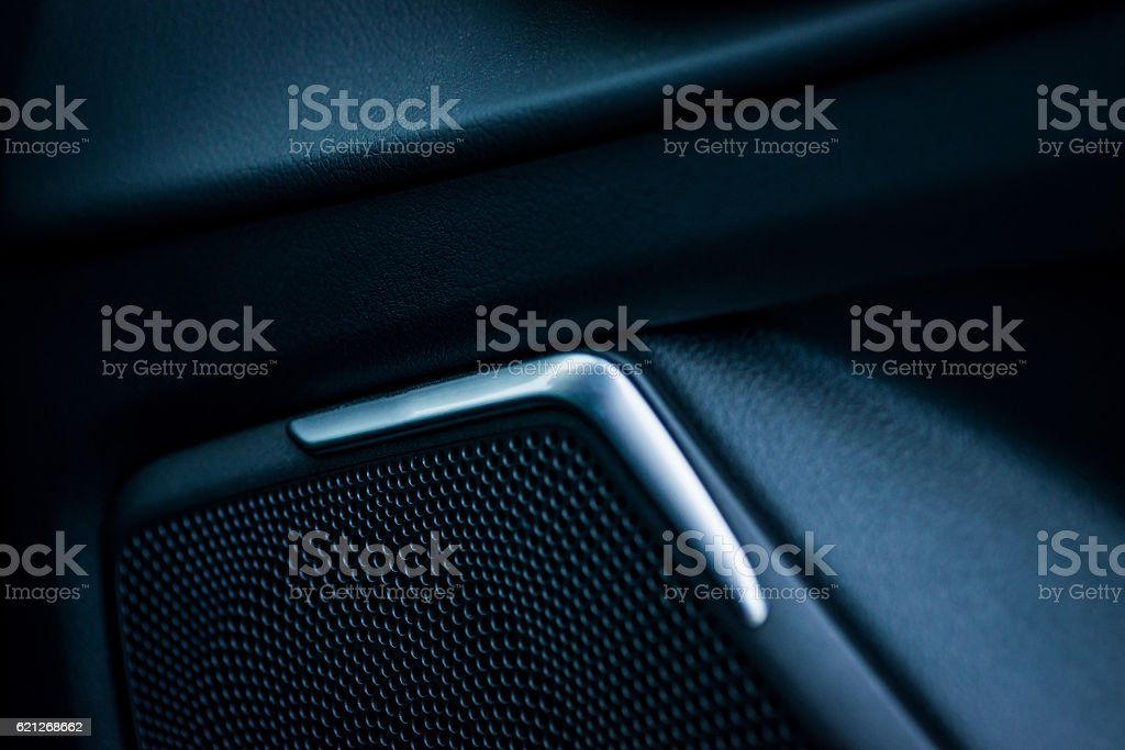 Closeup of car stereo system speaker stock photo
