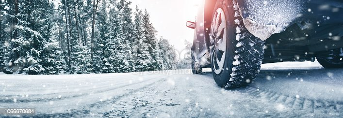 istock Closeup of car tires in winter on the road 1066670684