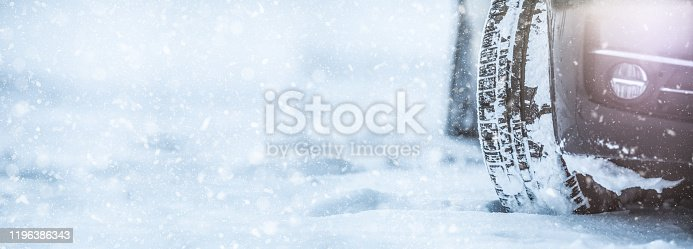 Closeup of car tyres on a snowy road. Snow on the road panoramic banner.